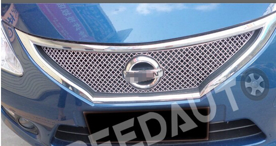 2011  Tiida High quality stainless steel Front Grille Around Trim Racing Grills Trim