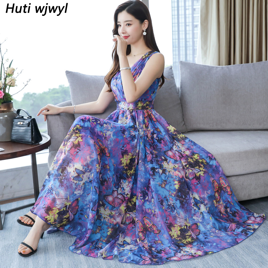 2019 Print Chiffon Sleeveless Sexy Boho Dresses Summer Vintage 4XL Plus Size Maxi Sundress Elegant Women Bodycon Party Vestidos
