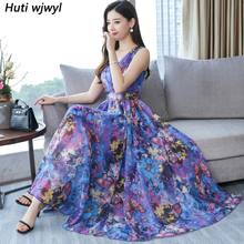 2020 Print Chiffon Sleeveless Sexy Boho Dresses Summer Vintage 4XL Plus Size Maxi Sundress Elegant Women Bodycon Party Vestidos