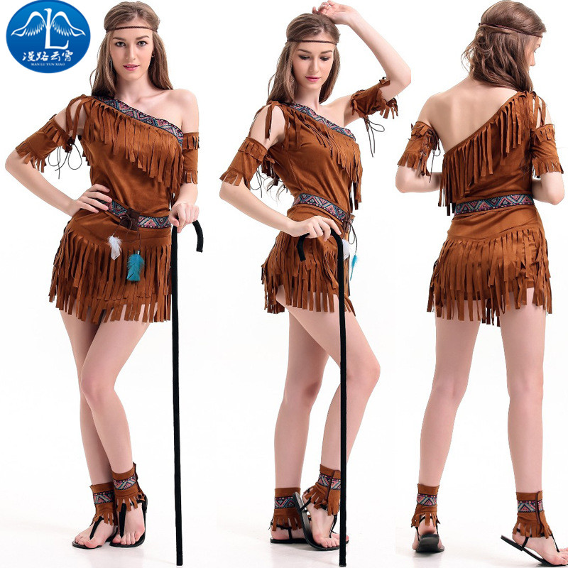 ManLuYunXiao 2017 Cosplay Costume Aboriginal Roleplay Primitive Tassel Women Dress Halloween Party Masquerade Christmas Cosplay