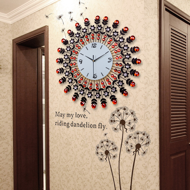 Large Fashion Living Room Wall Clock Modern Fashion Watches And Clocks  Luxury Diamond Decoration Clock Pocket