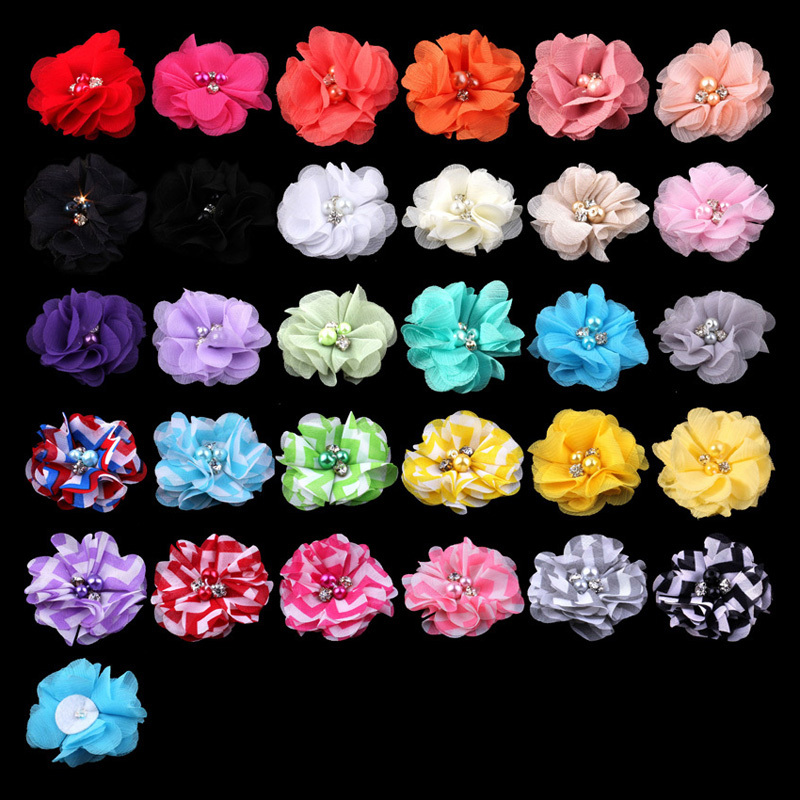 20pcs/lot 2 30 Colors NEW HOT Artificial Soft Fabric Chiffon Eyelet Flower Accessories With Clear Pearl Button For Kids Hair