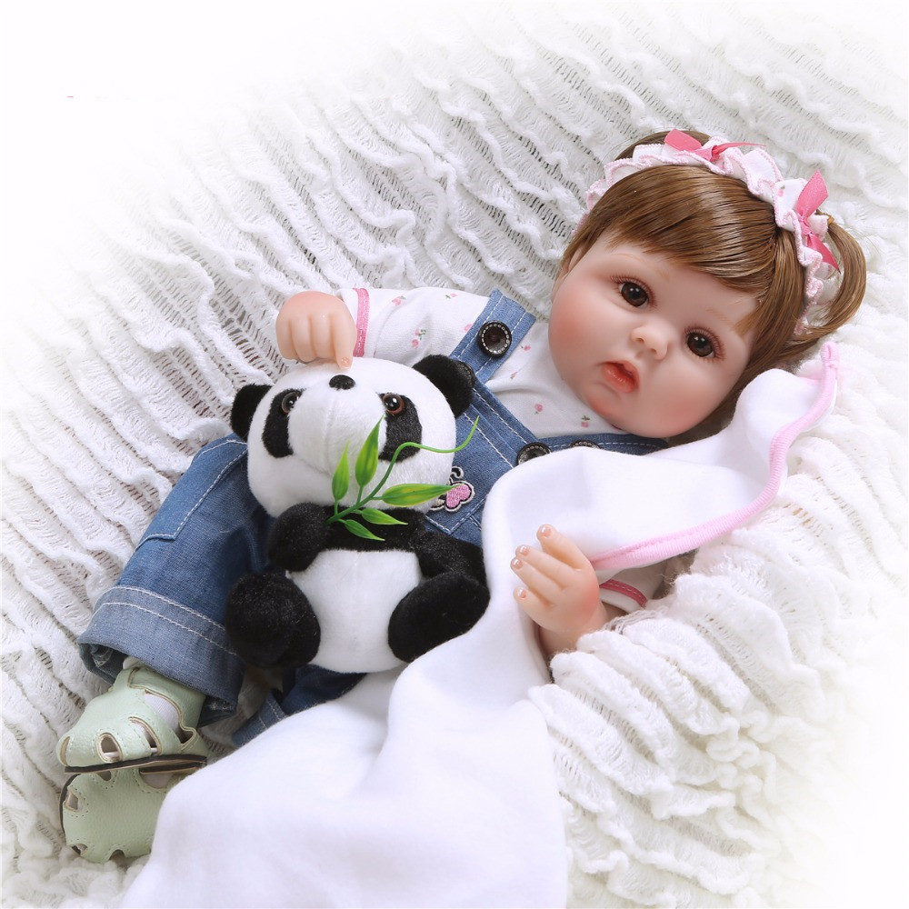 47cm Soft Toys Cloth Body Silicone Reborn Baby Doll Toy for Girls Vinyl Newborn Babies Dolls Kids with Panda Gift Brinquedos in Dolls from Toys Hobbies