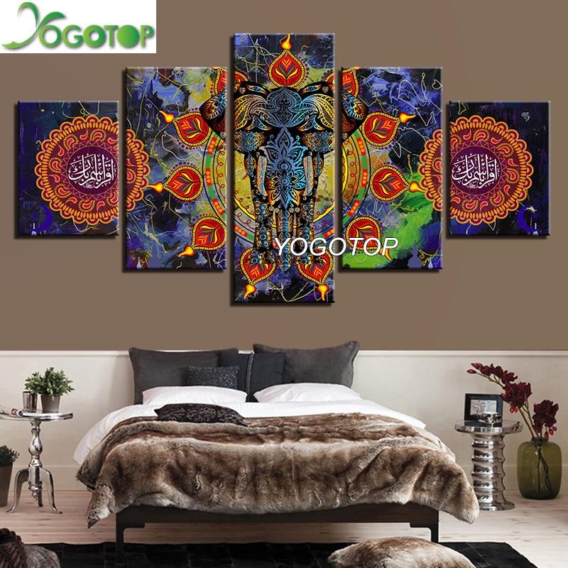 YOGOTOP DIY алмазов картина вышивки крестом Наборы полный алмазов вышивки 5D квадратный мозаичный Декор Мандала Индии Слон 5 шт. ML323