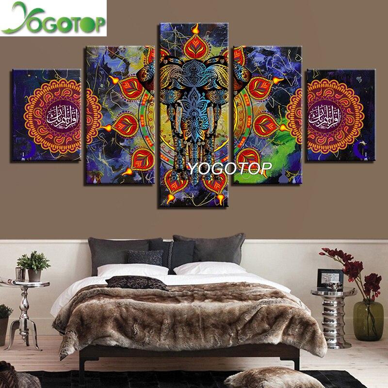 YOGOTOP DIY Diamond Painting Cross Stitch Kits Full Diamond Embroidery 5D Square Mosaic Decor Mandala India Elephant 5pcs ML323