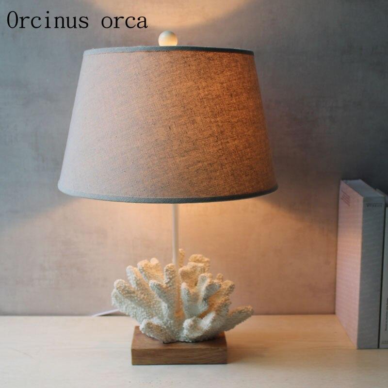 Средиземноморский творческий коралловый настольная лампа детская комната для мальчиков и девочек спальня ночники личность мультфильм све...