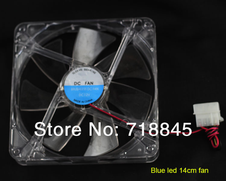 Transparent Color <font><b>12V</b></font> 4Pin <font><b>140mm</b></font> x 25mm <font><b>Fan</b></font> For PC Case System Cooling <font><b>Fan</b></font> image