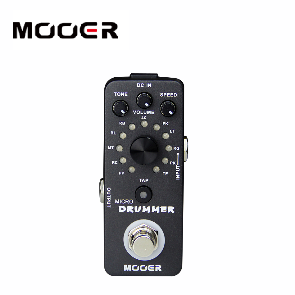 Mooer micro drummer digital drum machine 121 drumbeats 3 controls with one footswitch