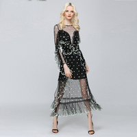 Sexy Dresses Women 2017 Newest Fashion High Street Mesh Dot Embroidery Ruffled Perspective Top Grade White