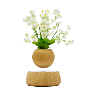 Lévitation magnétique Pot de fleur Suspension Tournant Fleur Décor Air Bonsaï Pot de Fleurs avec Socle En Bois pour La Maison Décoration