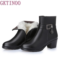 Women Boots Thick Heel Platform Shoes Autumn Winter Wool Boots For Women Genuine Leather Ankle Boots