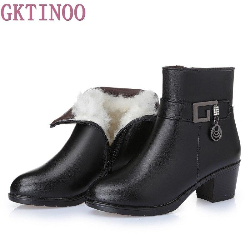 Mulheres Botas de Salto Grosso Sapatos de Plataforma Outono Botas De Lã De Inverno Para As Mulheres Couro Genuíno Ankle Boots Tamanho 35-43
