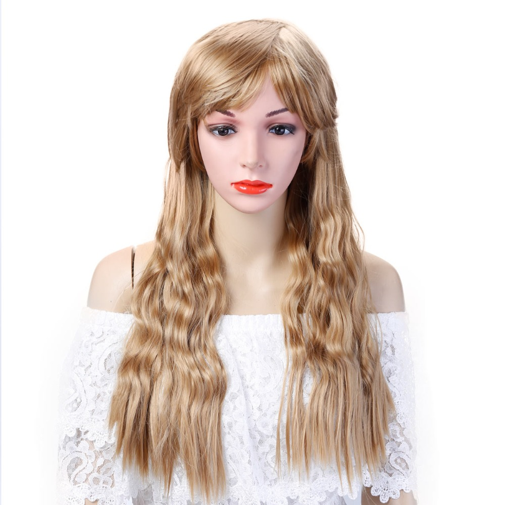 AOSIWIG Long Curly Cosplay wig Blonde Black Brown Pink ...