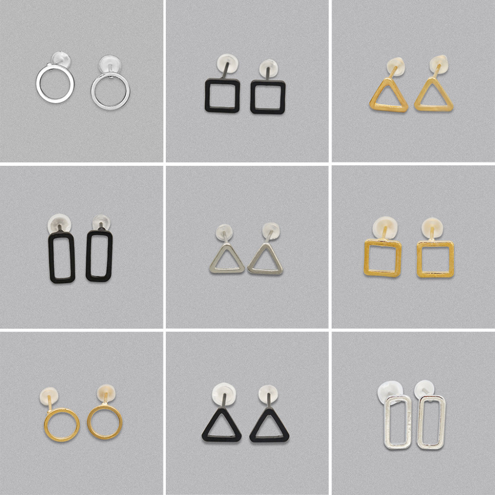 10 pairs/lot Gold Silver Black Plated Square Triangle Circle Stud Earring Women Men Hollow Charm Earrings Women Men Ear Jewelry