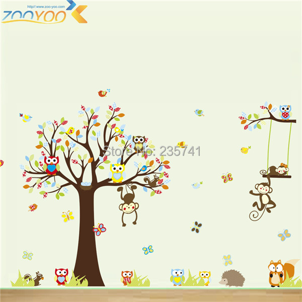 zy1212 pvc removable owl monkery tree for kids room wall stickers