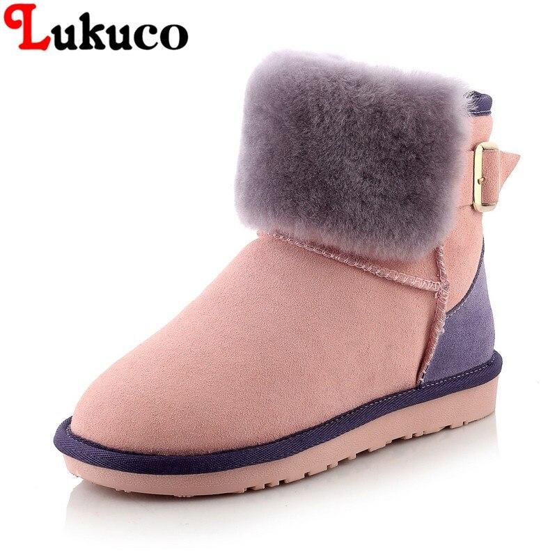 2018 lukuco повседневные теплые женские сапоги большой размер 41, 42, 43 зимние сапоги смешанного цвета из натуральной кожи на меху плюшевые внутри ...