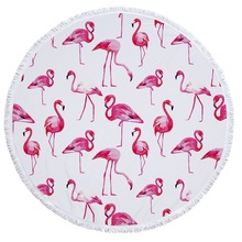 New 2018 Flamingo Microfiber Round Beach Towels with Tassel Bohemian Large Bath Blanket Picnic Yoga Mat Boho Tablecloth