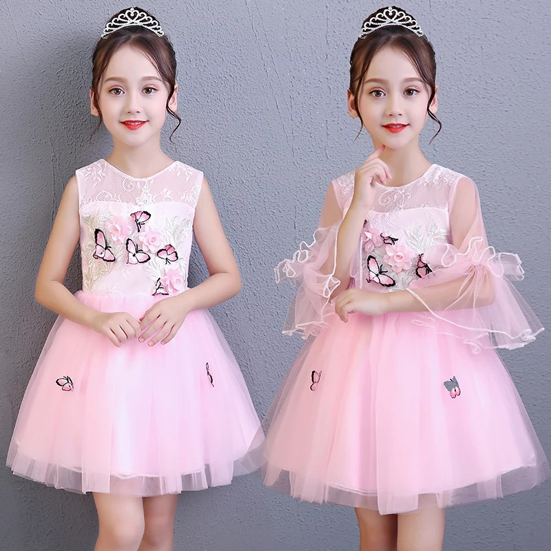 Summer New Children Girls Elegant Pink Color Birthday Wedding Party Ball Gown Dress Kids Teens Butterfly Princess Lace Dress shein eyelet crochet lace detail frill trim dress 2018 summer round neck butterfly sleeve dress women pink elegant ruffle dress