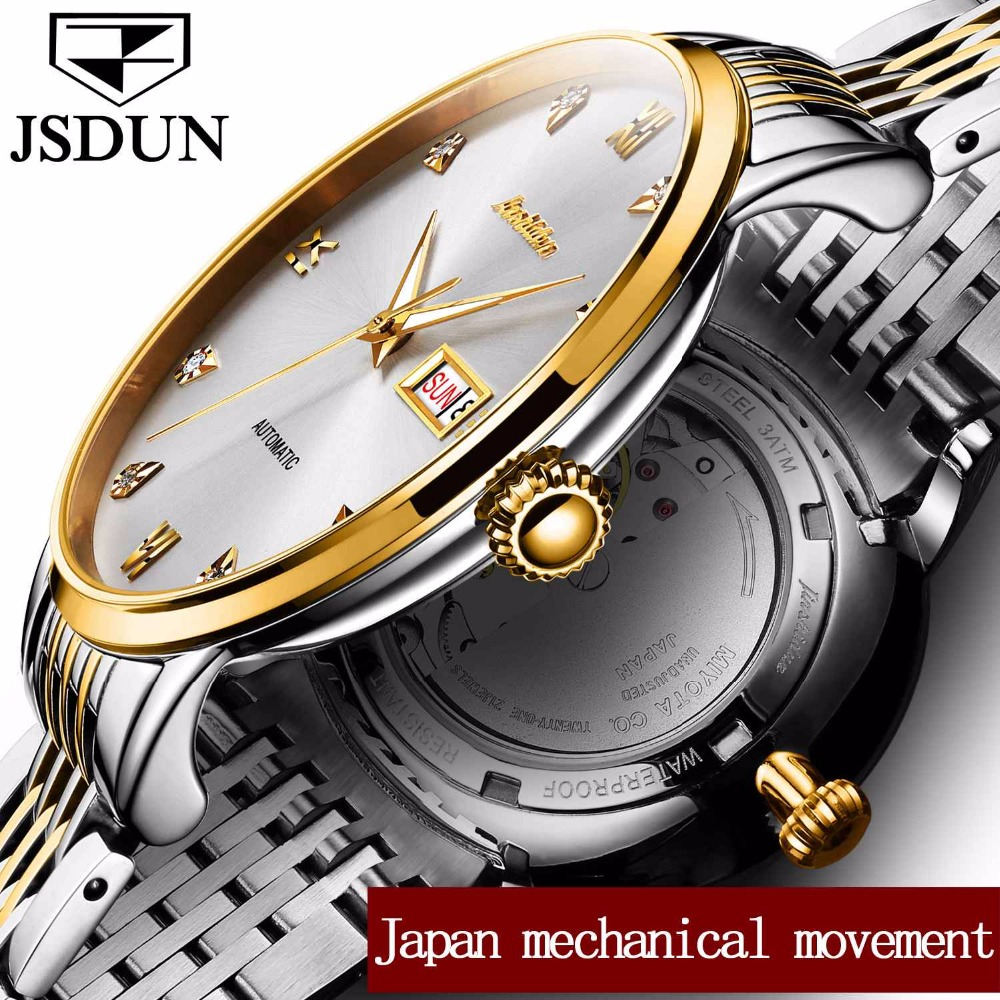 JSDUN Luxury Gold Color Case Men Mechanical Watches Male Clock Top Brand Leather Watch Date & Week Automatic Wristwatches 8817G luxury brand automatic tourbillon watch calendar date day display gold case male clock sport mechanical tag hour watches men