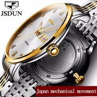 JSDUN Luxury Gold Color Case Men Mechanical Watches Male Clock Top Brand Leather Watch Date & Week Automatic Wristwatches 8817G