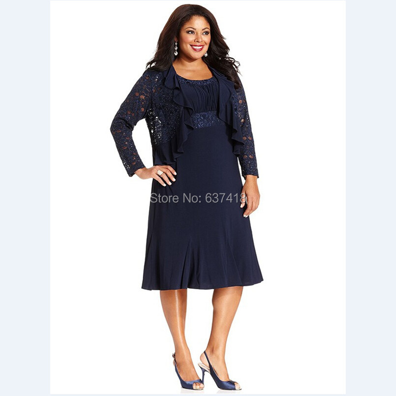 navy blue plus size mother of the bride dress with lace jacket