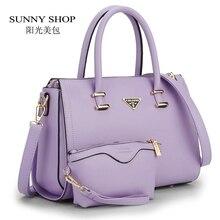 SUNNY TIENDA 2 Bags/Set American Style Mujeres Bolso de la Alta Calidad mujeres Messenger Bag Lady Bolso Crossbody Con Una Carpeta de la Marca diseñador