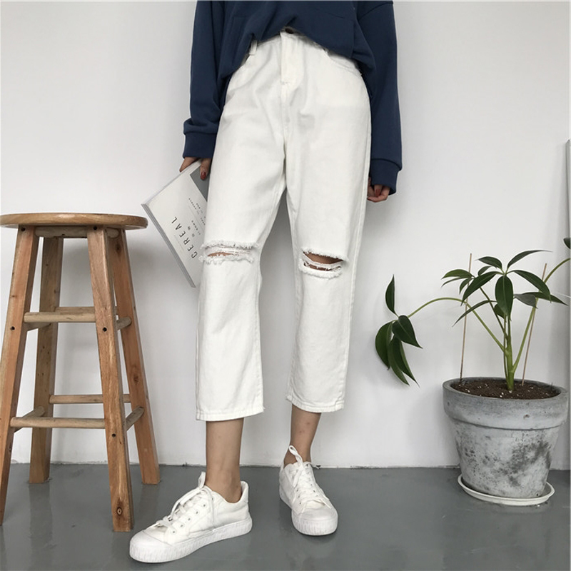 2019 Summer Style Black White Hole Ripped   Jeans   Women Straight Denim High Waist Pants Capris Female Casual Loose   Jeans