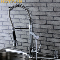 Hot Selling Free Shipping Pull Out Kitchen Faucet Solid Brass Thicken Chrome Spring Kitchen Mixer Faucets