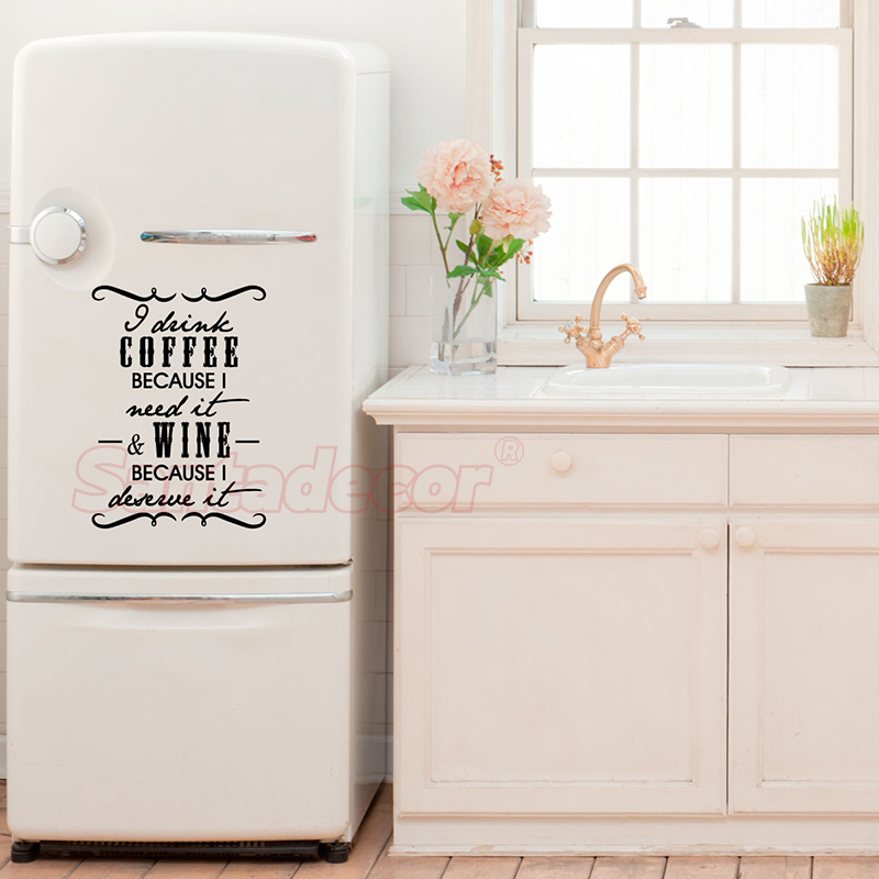 Sticker i drink coffee wine Vinyl Wall Decor Kitchen Wall Art Decals Fridge Home Decor Poster House Decoration 43 cm x 60 cm in Wall Stickers from Home Garden