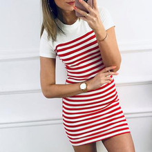 Style Dress Short-Sleeve T-Shirt Stretch Women Bodycon Red Casual Ladies Summer