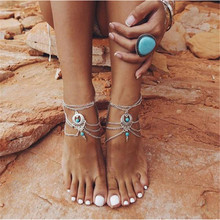 Boho Ethnic green stone Beads Barefoot Sandal Anklet Chic Multilayer Tassel Foot Chain Anklet Body Jewelry For Women JL-022