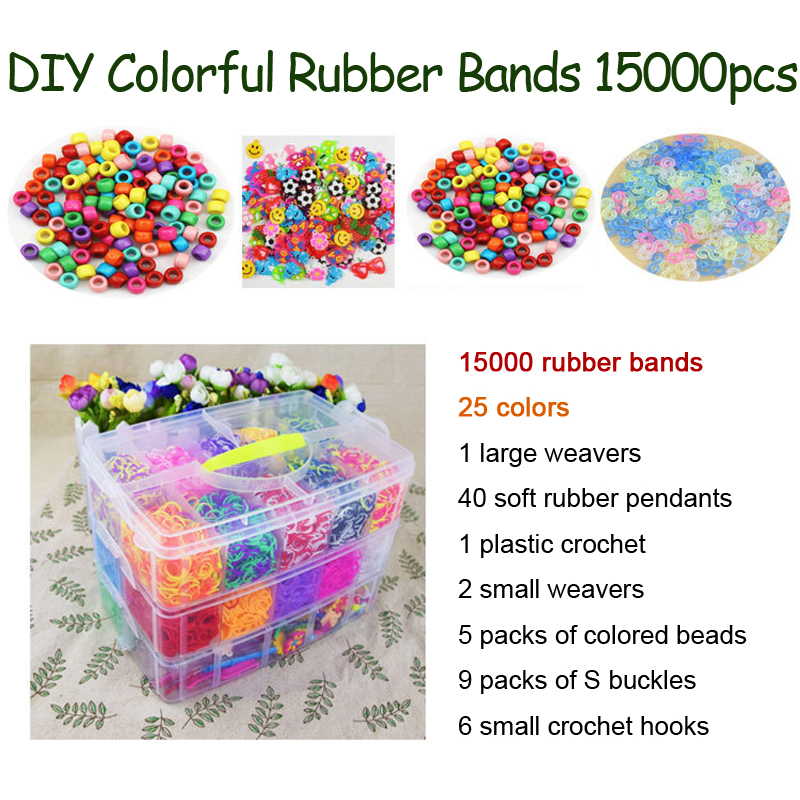 DOLLRYGA Colorful Loom Bracelet Rubber Bands Kits 15000PCS 25 Colors Art And Craft Toys With Kits