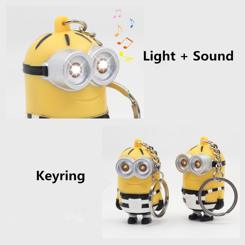 New Arrive Movie 3D Led Keychain Talk Minions,Gru Lucy Dru Striation Minions Flashlight Keyring With Sound 4#