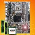 Брендовая материнская плата процессор ОЗУ набор HUANAN ZHI X58 Материнская плата с ЦПУ Intel Xeon X5650 2,66 ГГц ram 8G (2*4G) регистровая и ecc-память 2 года гаран...