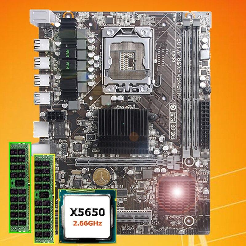 Marca motherboard CPU conjunto CARNEIRO HUANAN ZHI X5650 X58 motherboard com CPU Intel Xeon 2.66GHz RAM 8G (2*4G) REG ECC 2 anos de garantia