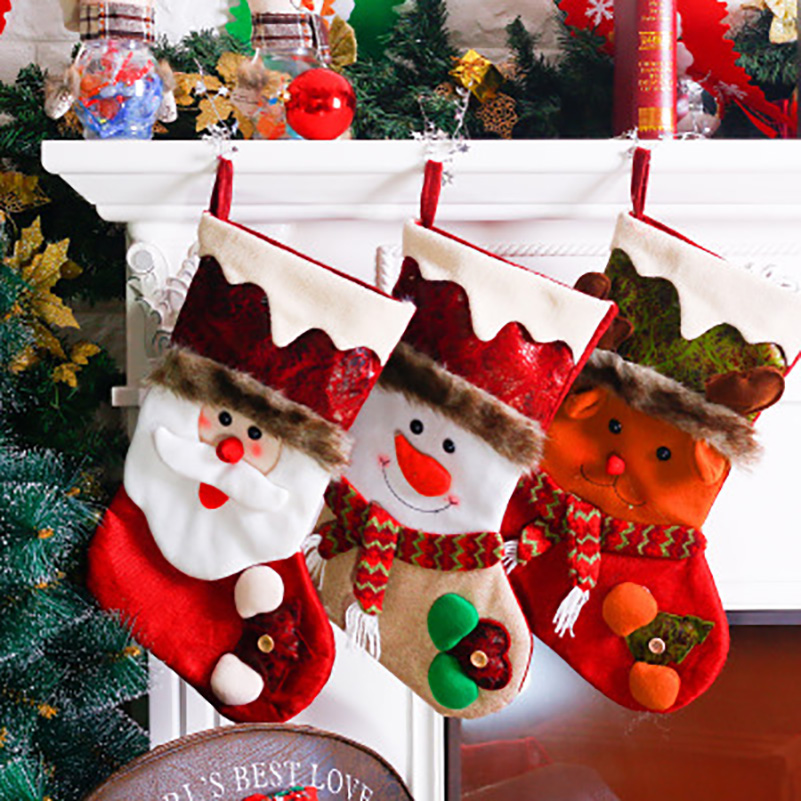 Fleece Christmas Stocking Santa Claus Snowman Deer Gift Bag Socks ...