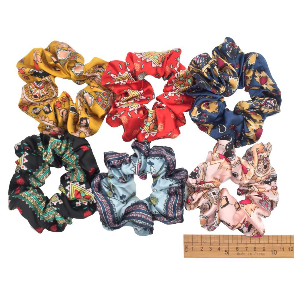 6 шт/лот Бархатные эластичные резинки для волос, резинки для волос для девочек, не складываются, леопардовые женские большие мелкие блестки из шифона с цветочным рисунком - Цвет: PJ026-6PCS