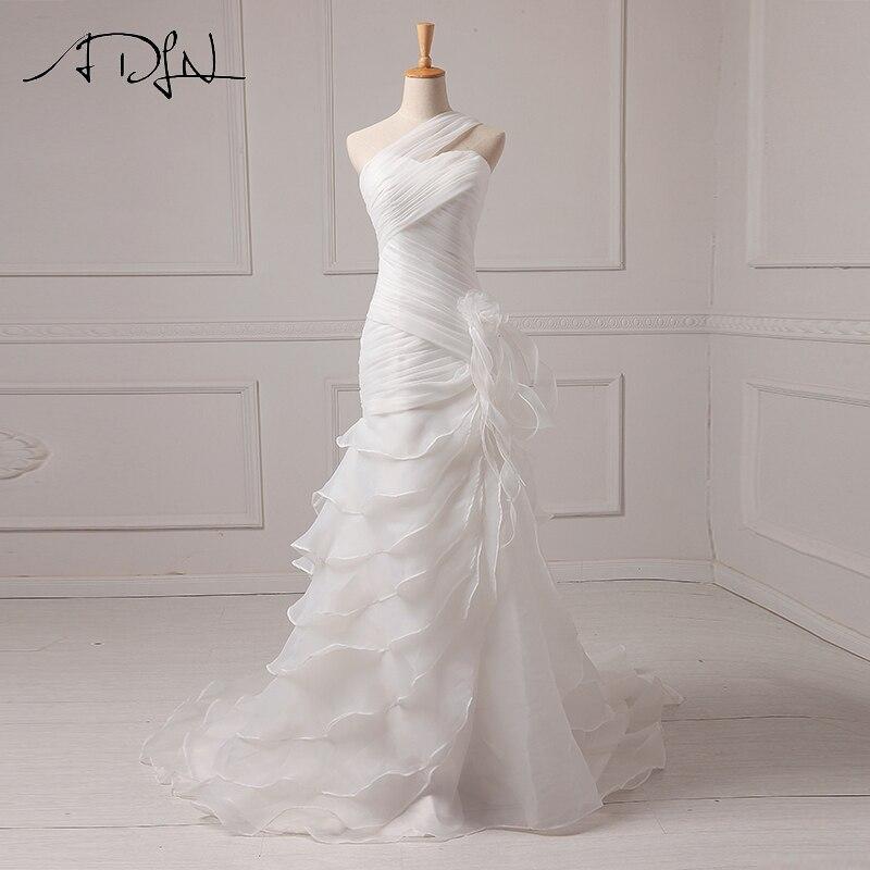 ADLN Sexy Wedding Dresses Cheap Ruffle Organza One shoulder Mermaid Beach Bridal Gowns Vestido De Noiva