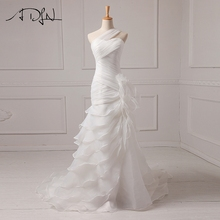 ADLN Sexy Wedding Dresses 2017 Cheap Ruffle Organza One shoulder Mermaid Beach Bridal Gowns Vestido De