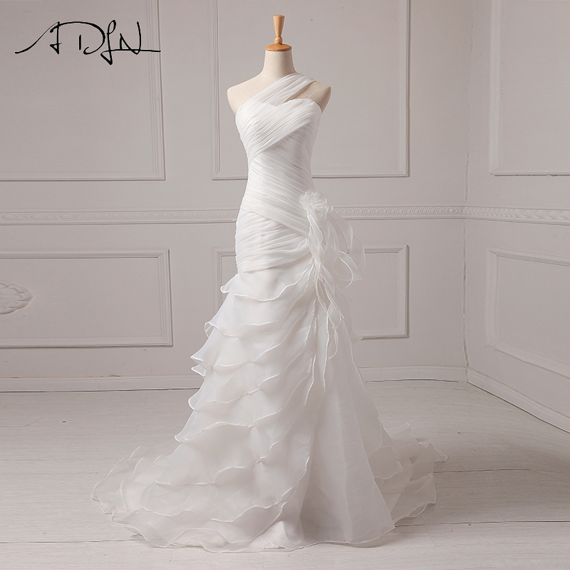 ADLN Sexy svatební šaty Lacné volánky Organza Jeden rameno Mermaid Beach Svatební šaty Vestido De Noiva Zipper Nahoru