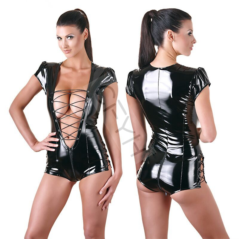 New Women Sexy PVC Bodysuits Clubwear Stripper Patent Leather Light Bandage Hollow Out of Clothing Women