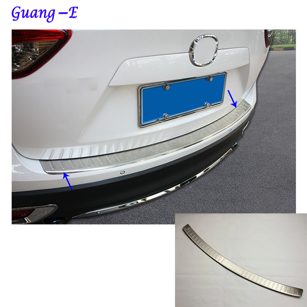 Car body External Rear Bumper Protect trim cover detector Stainless Steel plate pedal For Mazda CX-5 CX5 2013 2014 2015 2016 1 stainless steel rear trunk sill rear bumper protector plate cover trim for mazda cx 5 cx5 2nd gen 2017 2018 accessories