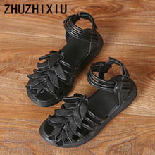 ZHUZHIXIU-Free shipping,2018 summer new style women's genuine leather sandals, handmade flower and thick bottom sandals