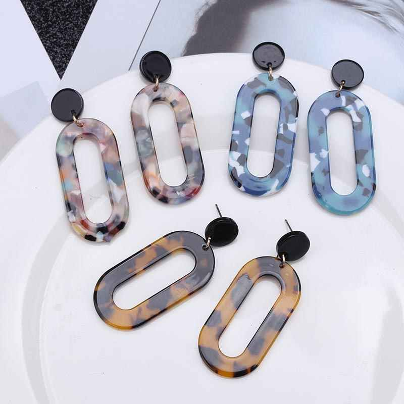 Acrylic Earrings 2019 Big Statement Earrings for Women Resin Oval Square Geometric Drop Dangle Earrings Bohemian Jewelry EB301