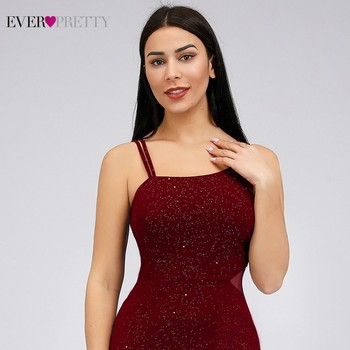 Elegant Burgundy Mermaid Prom Dresses 2020 Ever Pretty Spaghetti Straps Sleeveless Split Sexy Women Party Dresses Gala Jurken 5