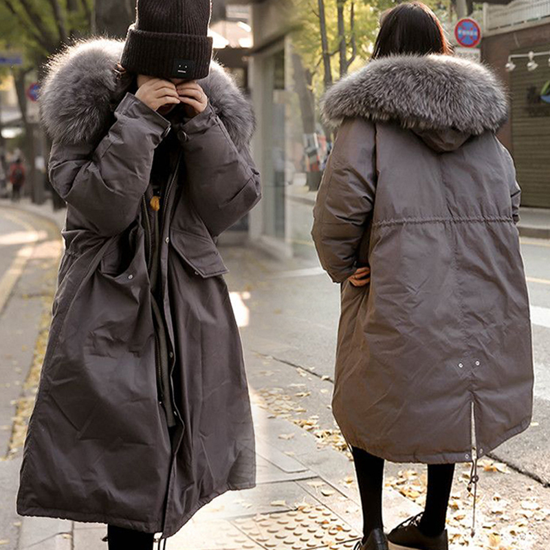 Thick 2017 Winter Jacket Coat  Women  Fur Collar Down Parka  Plus Size  Female Long Warm Hooded  Snow Wear Cotton-padded Jacket 2017 women winter coat fur collar hooded long sleeve jackets slim thick winter jacket woman s down cotton parka plus size qh0242