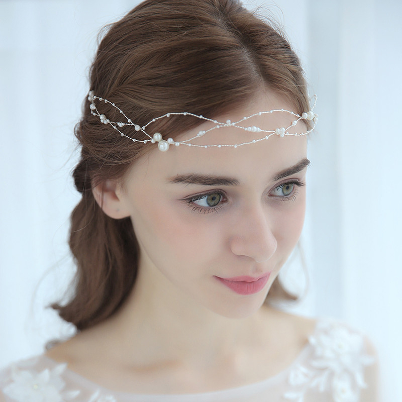 Silver Wired Simulated Pearl Headpiece Head Chain Bridal ...