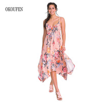 OKOUFEN Irregular flower pattern swallow tail dresses beauty dress new dresses Summer Dress