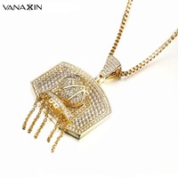 VANAXIN 2017 Trendy Tassel Bling Bling CZ Inlaid Stone Pendant Necklace Ball Rhodium Plated High Quality Wholesale Jewelry Box