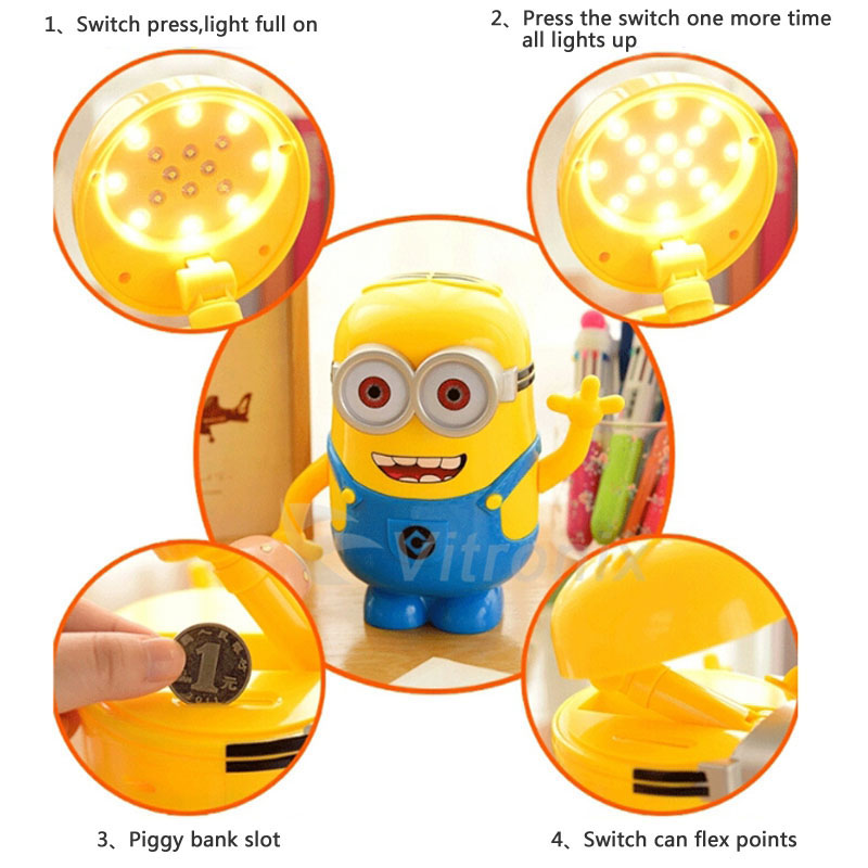 High Quality Minions Charging Lamp Learning Lamp Table Lamp Led Night Light Use As Money  Box Minions Piggy Bank For Children Gifts In LED Night Lights From Lights  ...
